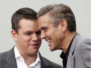 Matt Damon quase chorou quando soube que George Clooney será pai. Oi?