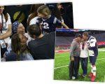 Na imagem à esquerda, Galynn, Gisele, Tom e Vivia Brady, e a foto que o jogador postou no Instagram