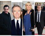 Da esquerda para a direita: Fillon, Arnault, Le Pen e Macron