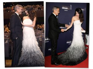 Clooney recebe prêmio César na França, mas os flashes são para Amal grávida