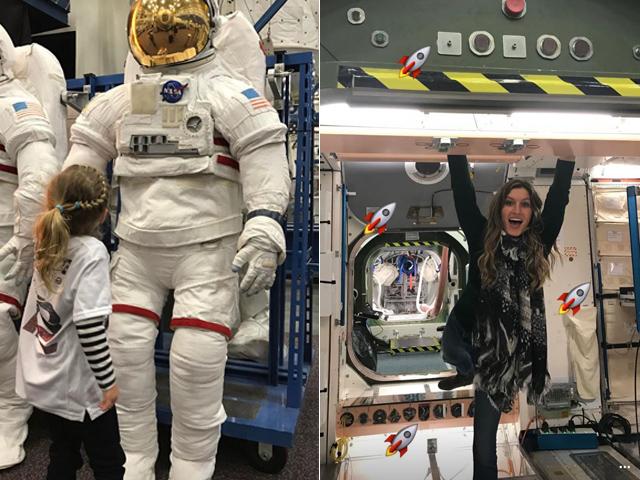 Gisele e Vivian animadas na visita ao centro espacial