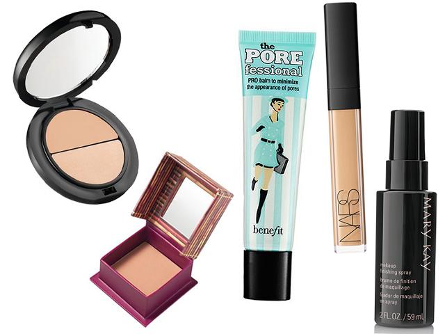 """Pó bronzeador Hoola mini da Benefit (R$79), Creme pré-maquiagem """"The POREfessional"""" da Benefit ( R$169), Kit hide & sheen da Benefit (R$119,90), corretivo Radiant Creamy Concealer da Nars (R$ 179), Spray Fixador de Maquiagem Mary Kay (R$ 120)"""