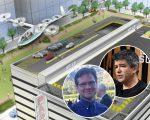O projeto do carro voador do Uber e, no detalhe, Moore (foto de baixo) e Kalanick