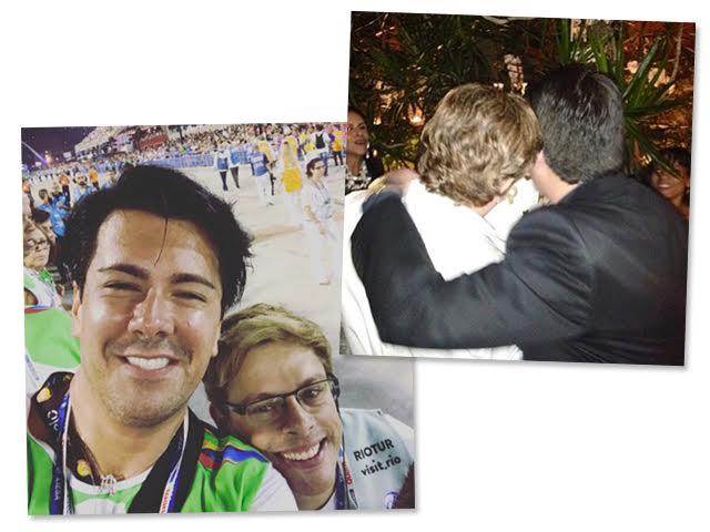 Bruno Chateaubriand e André Ramos na Sapucaí e a imagem postada por Bruno para oficializar o término da relação dos dois
