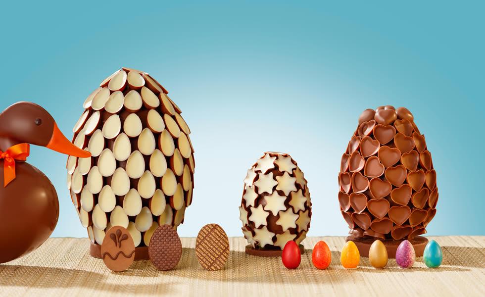 Ovos Escultura, Ovinhos Estrelas e Coração da Chocolat du Jour 300g R$176 750g R$390 e 1,2 kg R$ 595