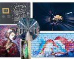 Em sentido horário: Lettering de Karol Stefanini, fotos da galeria 011 Motivos, grafitte de Edson Ramos, prancha customizada de Jeferson Guedes e obra de Moedenti