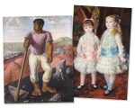 """""""O lavrador de café"""" (1934), de Candido Portinari e """"Rosa e azul - As meninas Cahen d' Anvers"""" (1881), de Pierre-Auguste Renoir"""