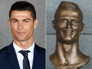 Busto em homenagem a Cristiano Ronaldo vira piada internacional