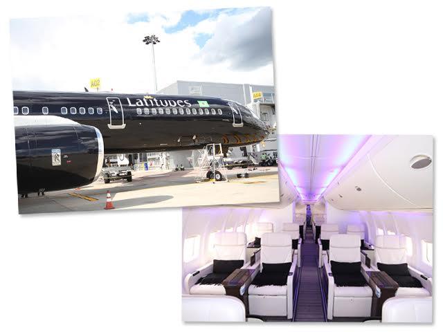 Interior e fachada do private Jet da Latitudes