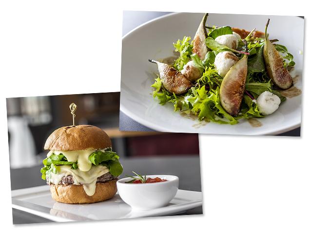 Hambúrguer Riviera e a salada Chèvre do novo cardápio do Riviera || Créditos: Divulgaçao