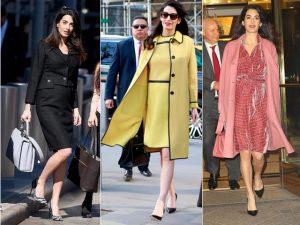 Grávida de gêmeos, Amal Clooney dá aula de elegância pelas ruas de Nova York