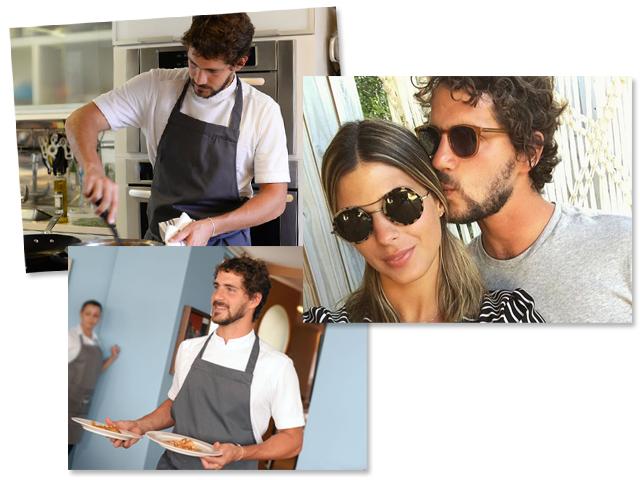 Antonio Pedro Mendes de Almeida Botelho em ação no almoço - e com Anna Fasano