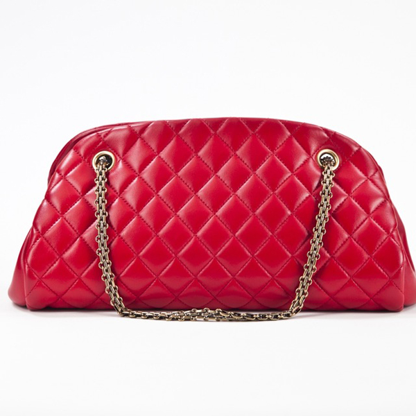 Bolsa Chanel Just Mademoiselle Medium Bowler vermelha