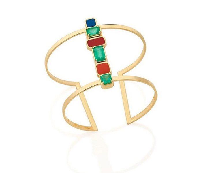 Anna Manrubia - Bracelete em esmeralda e esmalte colorido