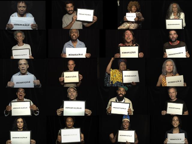 """Mosaico com artistas participantes do projeto """"Demarcação Já"""""""