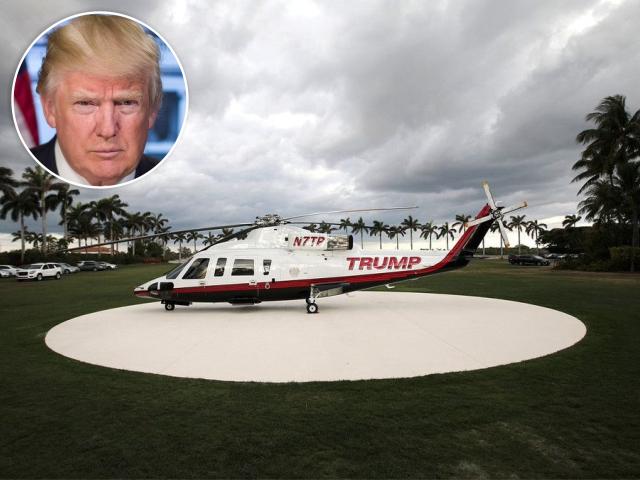 Donald Trump e seu helicóptero particular