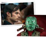Gael García Bernal e a máscara funerária de mosaico feita de jade datada do século 17 e que pertenceu ao povo Maia