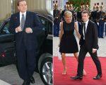 Silvo Berlusconi e o casal Brigitte e Emmanuel Macron