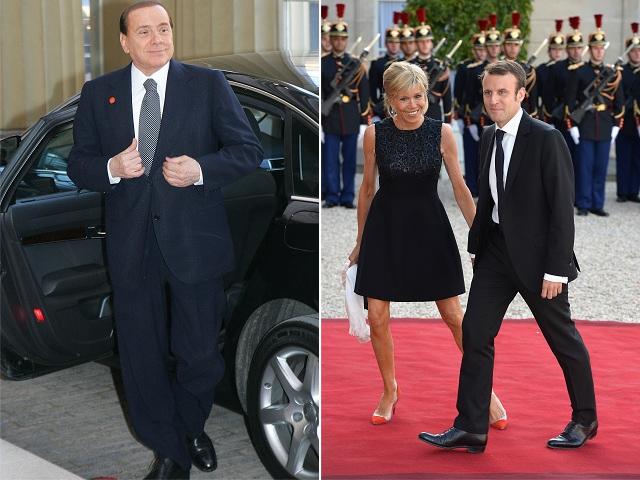 Silvo Berlusconi e o casal Brigitte e Emmanuel Macron || Créditos: Getty Images