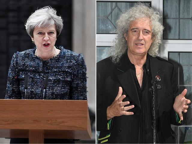 Theresa May e Brian May || Créditos: Getty Images
