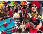 Regina Casé e Estevão Ciavatta com o pequeno Roque na hora dos parabéns; o aniversariante com seu look rapper e a família toda reunida na festinha @ RJ