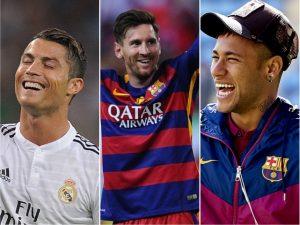 Ronaldo, Messi e Neymar lideram lista dos mais bem pagos dos gramados