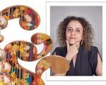 Beatriz Milhazes e detalhe de uma das esculturas que serão expostas no RJ