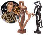 Bia Doria e duas esculturas que estarão expostas na Basílica Papal de São Paulo Fora da Muralha, em Roma