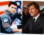 """Tom na pele de """"Maverick"""" Mitchell, em 1986 e o ator em 2017"""