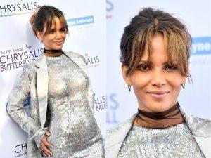 """Halle Berry culpa """"bife com fritas"""" por barriguinha saliente em gala"""