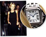"""Gwyneth Paltrow com o relógio Panthère na prèmiere do filme """"Boogie Nights - Prazer Sem Limites"""", em 1997 e o modelo relançado em 2017 que ganha festa no Tetto Rooftop em SP!"""