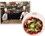 Gil Leite, Chico Ferreira e Paulo Bitelman no restaurante do Paul Bocuse em Lyon, na França, e o Fusilli au Betterave