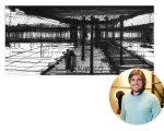 """Um dos desenhos da exposição """"Basiches Arquitetos: Desenho e Obra"""" e José Ricardo Basiches"""