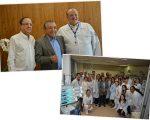 Mauricio de Sousa entre Dr. Roberto Kalil Filho e Dr. Sergio Timerman; e o desenhista com a equipe do Instituto do Coração do Hospital das Clínicas