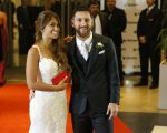 ROSARIO, ARGENTINA - JUNE 30:  Lionel Messi and Antonela Rocuzzo pose for pictures during Lionel Messi and Antonela Rocuzzo's Wedding at City Center Hotel on June 30, 2017 in Rosario, Argentina. (Photo by Gabriel Rossi/LatinContent/Getty Images)