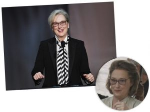 "Meryl Streep, no detalhe, vestida como a personagem que interpreta em ""The Papers"""