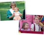 Diana com William no colo, e Charlotte e George