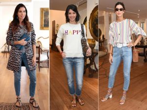 Abaixo a montação: jeans é a escolha cool entre as bem vestidas da semana