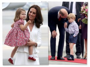 Família real desembarca na Polônia com príncipe George levando bronca