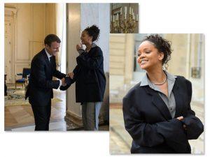 Rihanna quebra o protocolo ao encontrar Emmanuel Macron de terno oversized