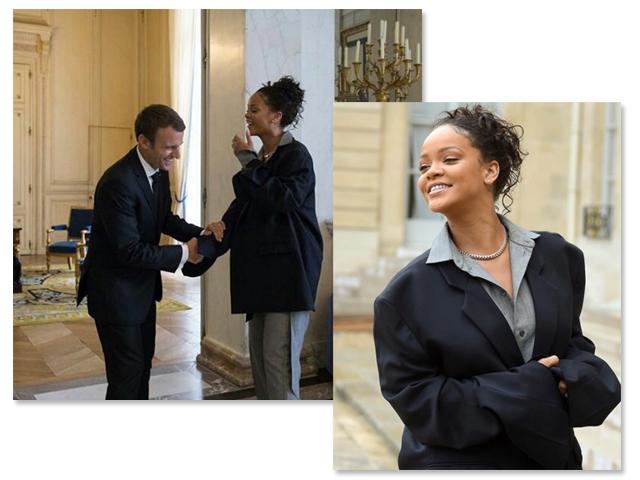 O casal Macron recebe Rihanna nos Campos Elísios