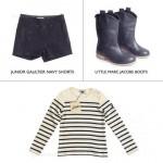 Shorts e malha Junior Gaultier e botinhas Little Marc Jacobs: charme de sobra
