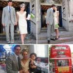 Maxim Crewe e Charlotte Dellal após o casamento, com o filho, Ray, e o ônibus: celebração íntima