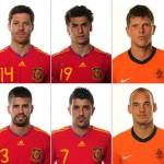 Xabi Alonso, Fernando Llorente, Klaas Jan Huntelaar, Gerard Piqué, David Villa e Wesley Sneijder: bonitões em campo