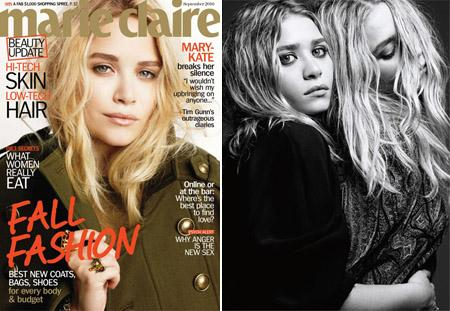 """Mary-Kate, na """"Marie Claire"""", e as irmãs clicadas pelo Hedi Slimane para a """"Harper's Bazaar"""": boas de marketing"""