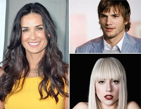 Lady Gaga, Ashton Kutcher e Demi Moore: modernizando o trânsito.