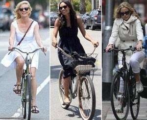 Estrelas de Hollywood dão exemplo ao usar a bicicleta como meio de transporte