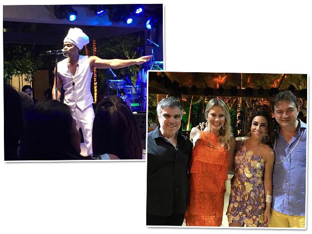 Carlinhos Brown no palco e Flavio e Anna Claudia Rocha com Ticiana Villas Boas e Joesley Batista || Créditos: Reprodução Instagram