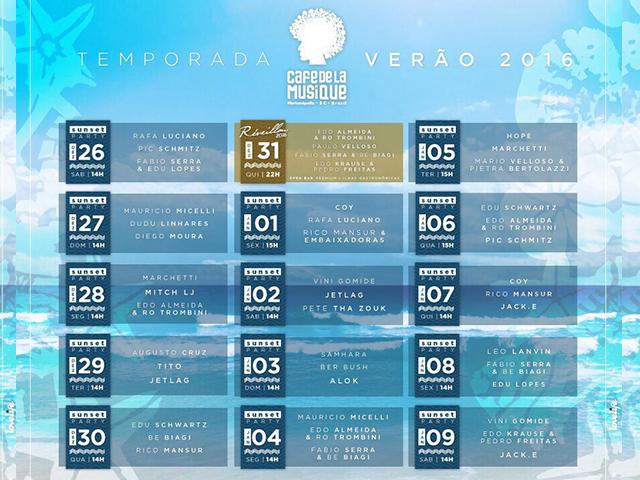 Programação Completa do verão Café de La Musique 2016    Créditos: Divulgação