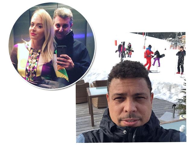 Huck e Angélica em clique romântico antes de encontrar os amigos e Ronaldo pronto para esquiar  ||  Créditos: Reprodução Instagram